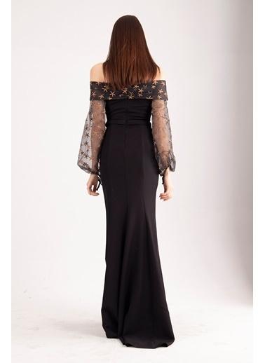 Belamore  Siyah Krep Yıldız Baskılı Yırtmaçlı Abiye&Mezuniyet Elbisesi 1301615.01 Siyah